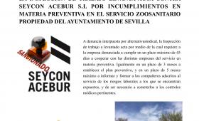 LA INSPECCIÓN DE TRABAJO LEVANTA ACTA CONTRA SEYCON ACEIBUR S.L POR INCUMPLIMIENTOS EN MATERIA PREVENTIVA EN EL SERVICIO ZOOSANITARIO PROPIEDAD DEL AYUNTAMIENTO DE SEVILLA.