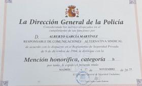 EL RESPONSABLE DE COMUNICACIÓN DE ALTERNATIVASINDICAL ALBERTO GARCIA MARTINEZ HA RECIBIDO HOY POR PARTE DE LA DIRECCIÓN GENERAL DE LA POLICIA LA MENCIÓN HONORÍFICA TIPO B, POR SU LUCHA CONSTANTE EN EL SECTOR DE LA SEGURIDAD