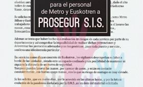 ALTERNATIVASINDICAL RECLAMA EPIS EN VIZCAYA PARA EL PERSONAL DE METRO T EUSKOTREN A PROSEGUR SIS