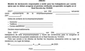 La Orden SND/307/2020 de 30 de marzo, establece criterios interpretativos para la aplicación del Real Decreto-ley 10/2020 de 29 de marzo, y el modelo de declaración responsable para facilitar los trayectos necesarios entre el lugar de residencia y de trabajo.