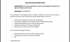 Alternativasindical impugna los pliegos del Servicio de seguridad en centros de la Delegación Especial de la Agencia Tributaria de Asturias
