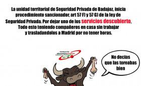 LA BRIGADA PROVINCIAL DE SEGURIDAD PRIVADA LEVANTA ACTA CONTRA SECURITAS EN BADAJOZ POR DEJAR SERVICIOS DESCUBIERTOS