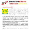 Desde la Federación Valenciana de alternativasindical se denuncia a CIS SEGURIDAD, ante la Inspección Provincial de Trabajo y Seguridad Social por varios incumplimientos en materia de jornada de trabajo y en unas presuntas infracciones en materia laboral.