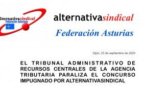 EL TRIBUNAL ADMINISTRATIVO DE RECURSOS CENTRALES DE LA AGENCIA TRIBUTARIA DE PARALIZA EL CONCURSO IMPUGNADO POR ALTERNATIVASINDICAL