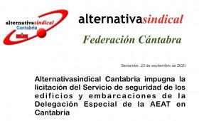 Alternativasindical impugna la licitación del Servicio de seguridad de los edificios y embarcaciones de la Delegación Especial de la AEAT en Cantabria