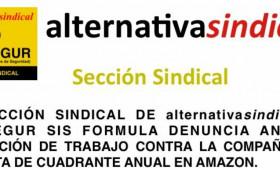 LA SECCIÓN SINDICAL DE alternativasindical EN PROSEGUR SIS FORMULA DENUNCIA ANTE LA INSPECCIÓN DE TRABAJO CONTRA LA COMPAÑÍA POR LA FALTA DE CUADRANTE ANUAL EN AMAZON