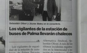 Alternativa Sindical en Mallorca consigue que a los vigilantes de seguridad de la estación de autobuses se les dote de más equipos de protección individual
