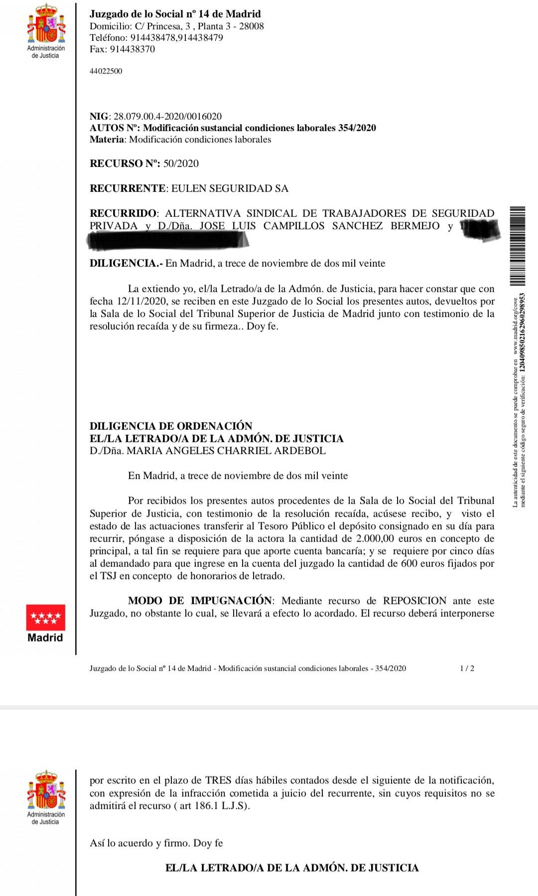 EL JUZGADO DE LO SOCIAL N.14 DE MADRID DA CINCO DÍAS DE PLAZO A EULEN PARA CONSIGNAR LA INDEMNIZACIÓN A ESTE SINDICATO POR VULNERAR DERECHOS FUNDAMENTALES