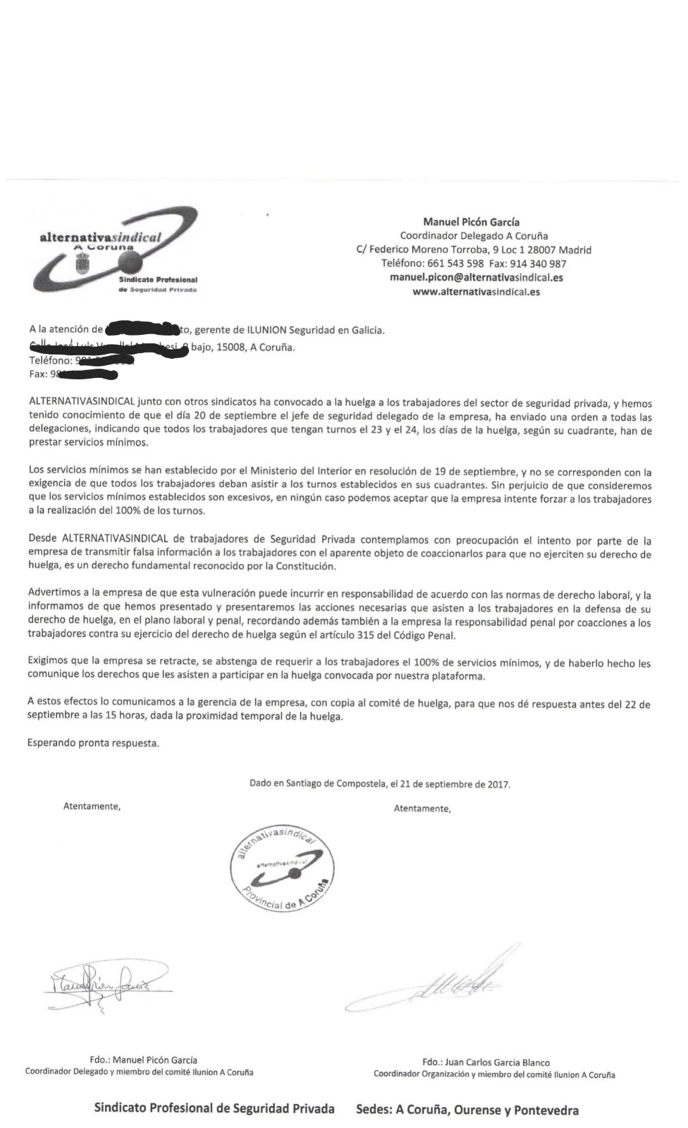 ALTERNATIVASINDICAL A CORUÑA ENVÍA ESCRITO DIRIGIDO A LA GERENTE DE ILUNION SEGURIDAD GALICIA - MOTIVO HUELGA 23 Y 24-9-2017
