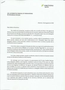Contestación Vectalia Sección Sindical alternativasindical