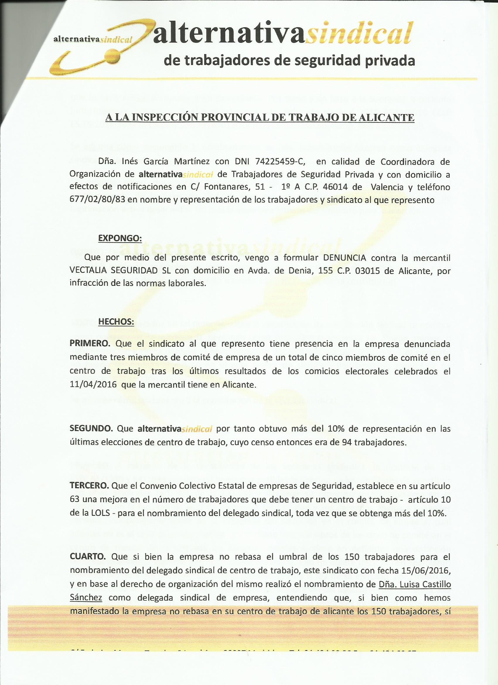 Alternativa Sindical En Alicante Denuncia A Vectalia