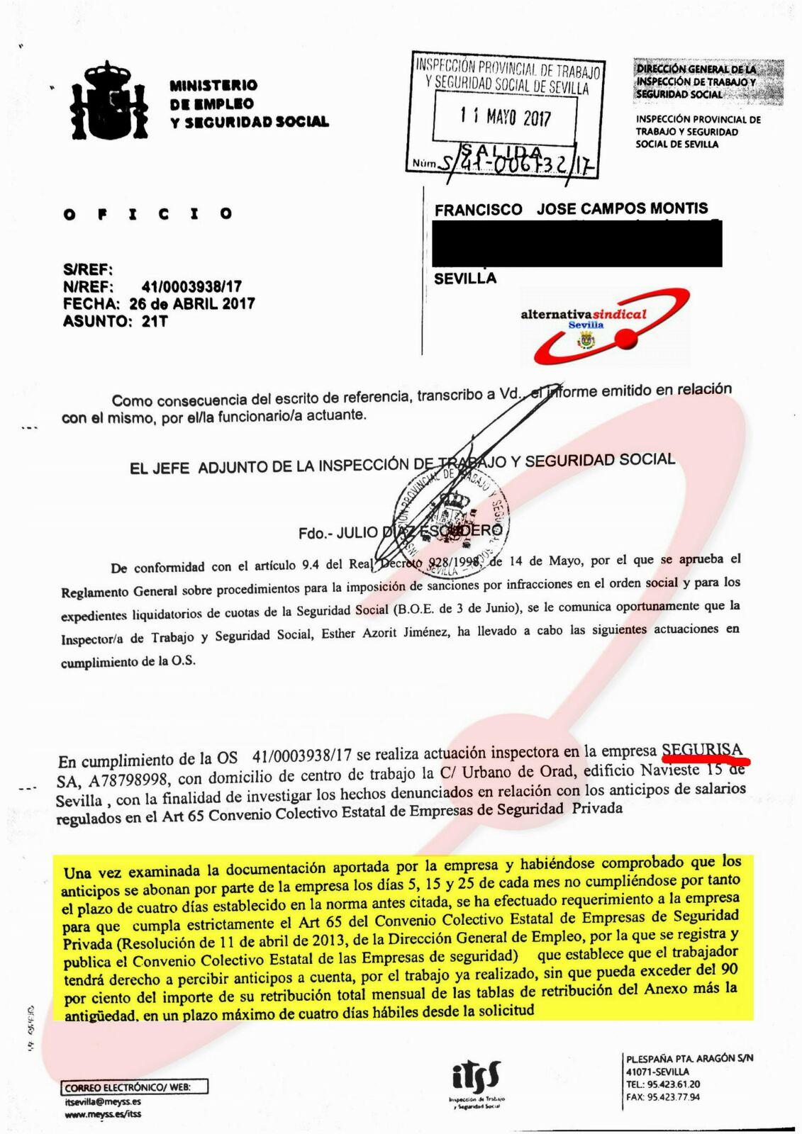 RESOLUCION INSPECIÓN DE TRABAJO SEGURISA SEVILLA