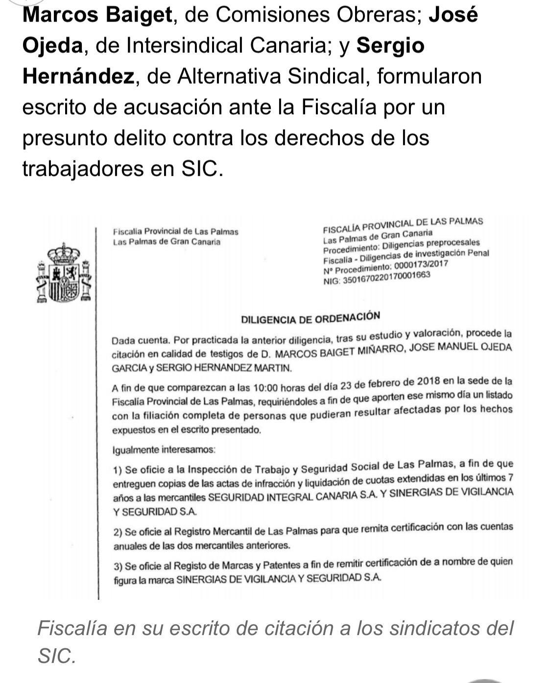 FISCALÍA ABRE DILIGENCIAS CONTRA SEGURIDAD INTEGRAL CANARIA Y MIGUEL ...