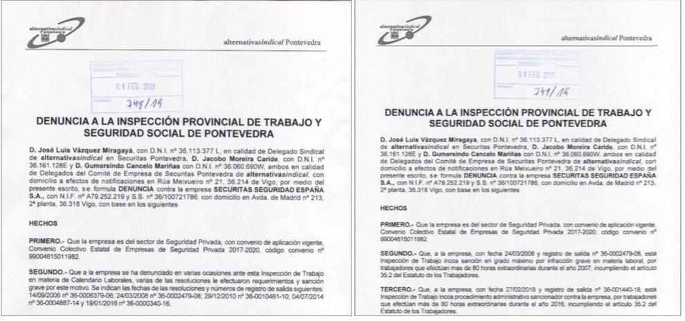 Calendario Laboral Pontevedra 2020.Alternativasindical Pontevedra Vuelve A Denunciar A Securitas Por