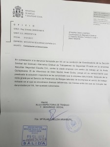 Resolución Inspección de Trabajo de Madrid contra Securitas