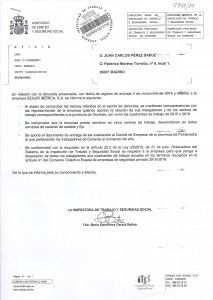 Resolución Inspectora contra Segur Ibérica en Ourense cuadrantes anuales