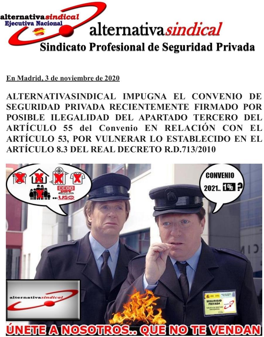 ALTERNATIVA SINDICAL IMPUGNA EL CONVENIO DE SEGURIDAD PRIVADA RECIENTEMENTE FIRMADO POR POSIBLE ILEGALIDAD DEL APARTADO TERCERO DEL ARTÍCULO 55