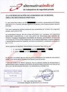 Solicitud Subdelegación Gobierno Mención